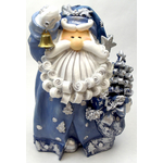 """1256522C - 8"""" Curly Beard Resin Blue Glitter Santa Statue With Gold Bell"""