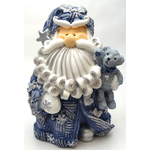 """1256522D - 8"""" Curly Beard Resin Blue Glitter Santa Statue With Star & Teddy Bear"""