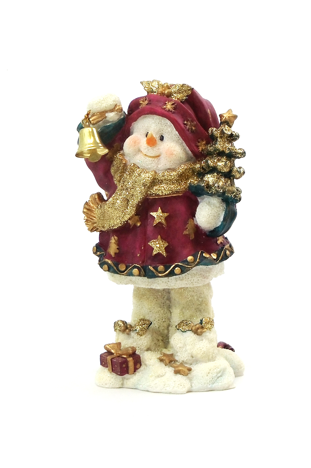 """1256526B-R - 6"""" """"Ding-A-Ling"""" Snowman Red Christmas Tree Resin Statue"""