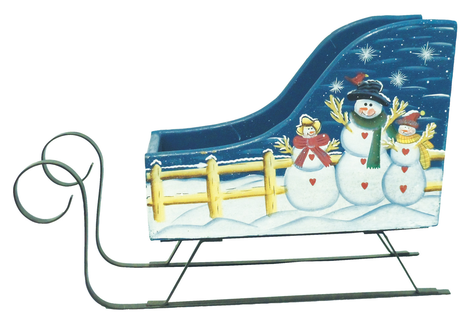 1256648 - Snow Family Hand Painted Wood Sleigh