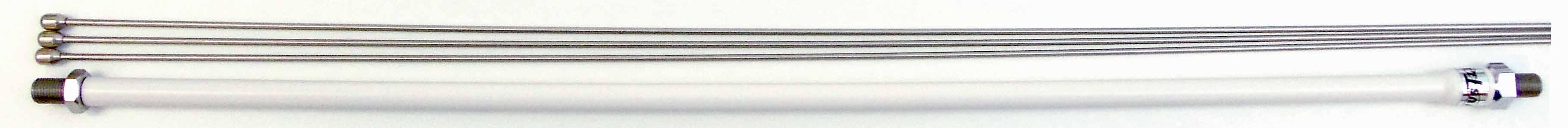 "MO4 - Hustler 20-1/2"" Stainless Antenna Mast W/White Coating & 3-25"" Rods"