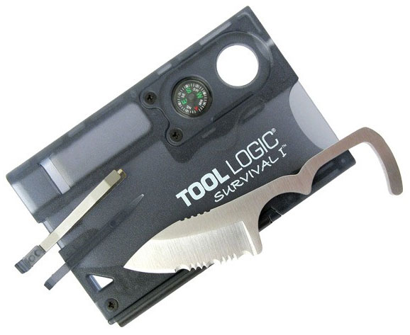 SVC1 - Tool Logic SVC1 Black Survival Card with Fire starter and Compass