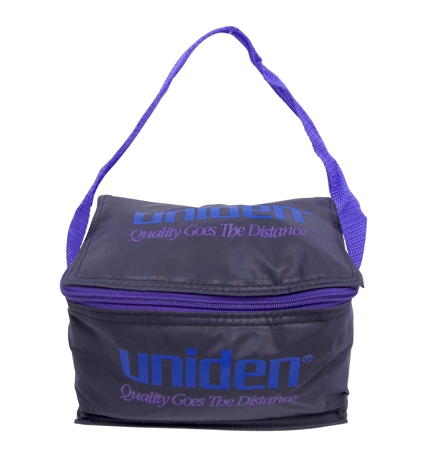 """UNIBOX - UNIDEN - SMALL NYLON CARRY BAG WITH SIGNATURE LOGO, APPROXIMATE DIMENSIONS 8"""" LONG X 5"""" WIDE X 4.5"""" TALL"""