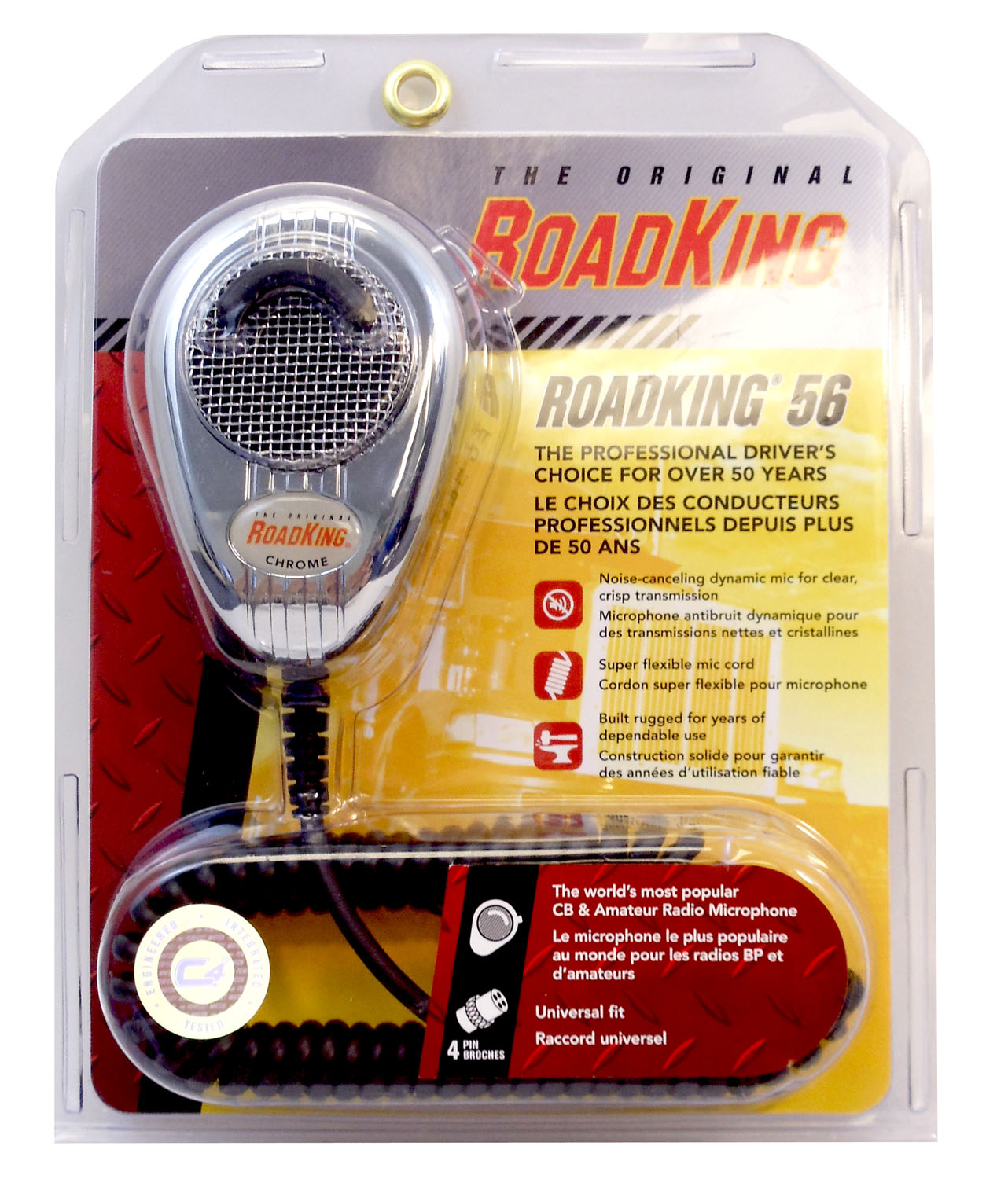 RK564PCH - Roadking 4 Pin Noise Canceling Chrome Microphone