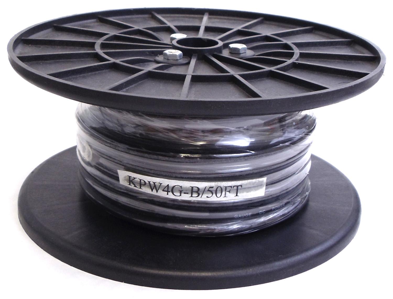 KPW4G-B - Kalibur 50 Foot Spool Of 4 Gauge Black Power Wire