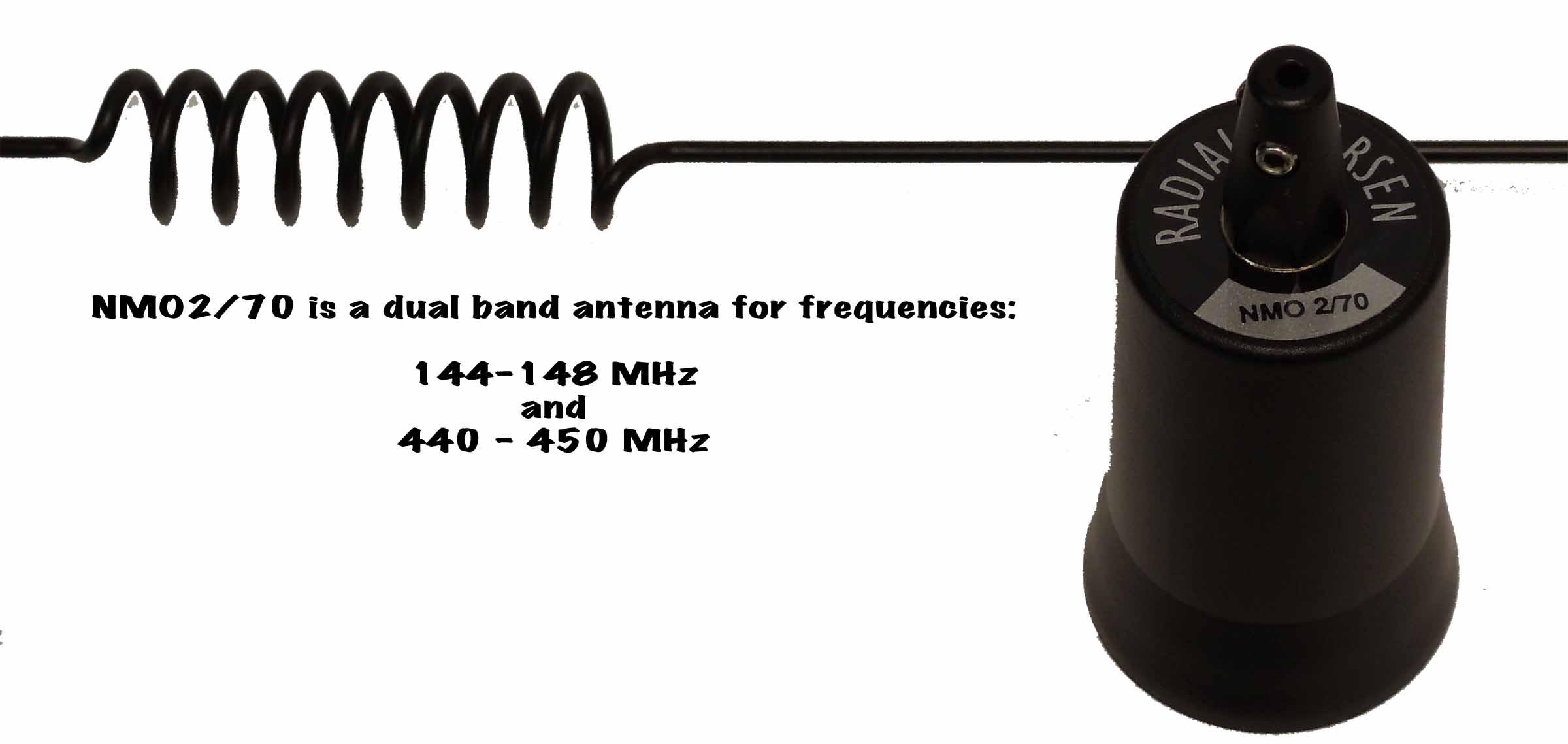 NMO270B - Larsen Black Coil & Whip Antenna 144-148Mhz 440-450Mhz