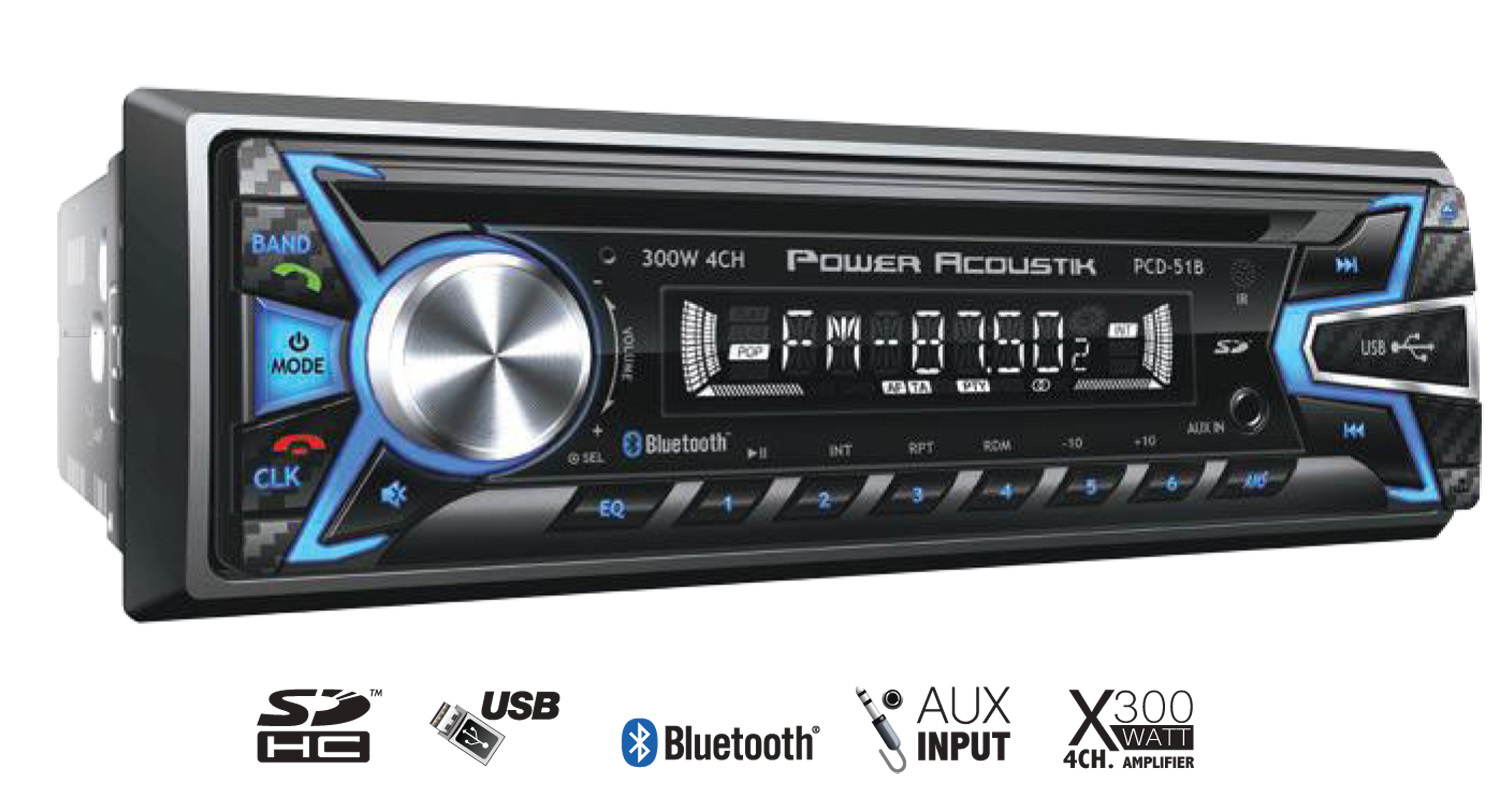 PCD51B - Power Acoustik 1 Din Card Mp3 300 Watt Digital Am/Fm Stereo