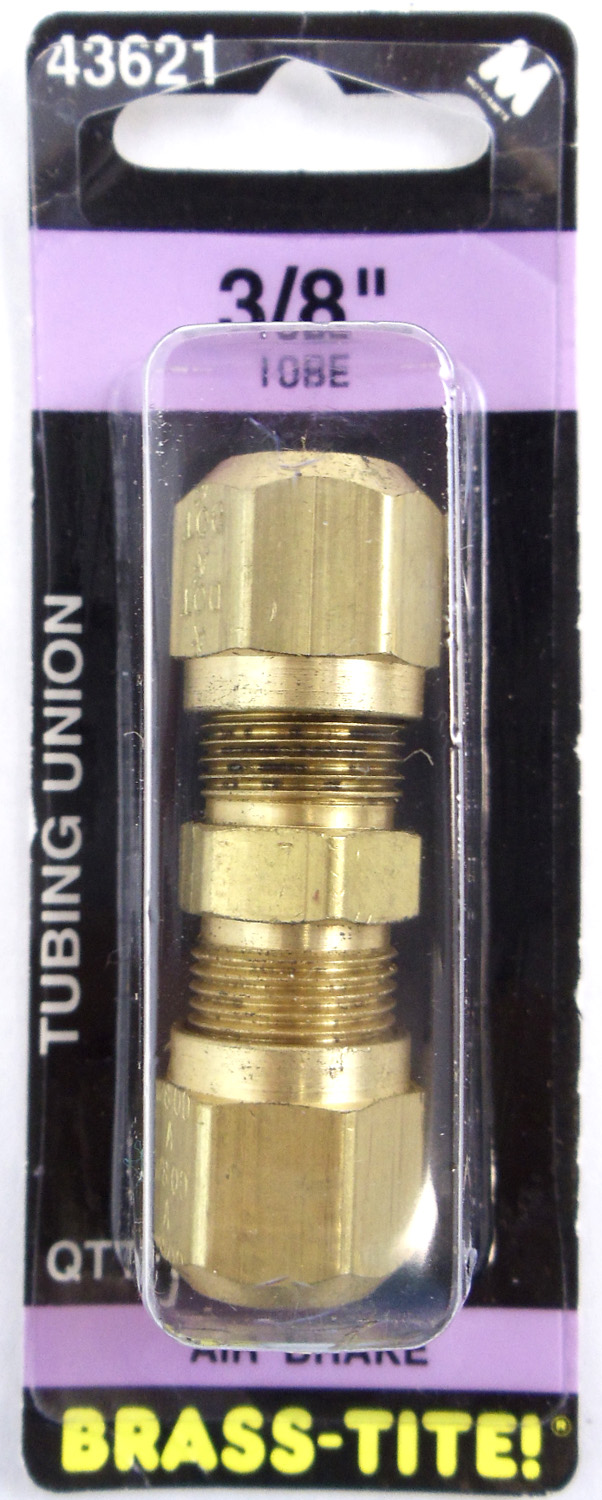 "07443621 - Brass-Tite Air Brake Brass 3/8"" Tubing Union"