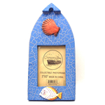 """12539933B-B - Wooden Boat Shaped 3"""" X 5"""" Blue Picture Frame w/ Fish & Shell Embellishments"""