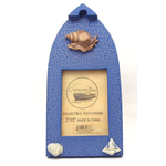 """12539933C-B - Wooden Boat Shaped 3"""" X 5"""" Blue Picture Frame w/ Snail & Shell Embellishments"""