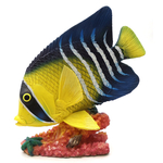 1255530-Y/B - Resin Decorative Tropical Fish Statue - Yellow / Blue