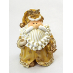 "1256523B - 8"" Curly Beard Golden Resin Santa Statue With Present"