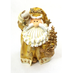 "1256523C - 8"" Curly Beard Golden Resin Santa Statue  With Bell"