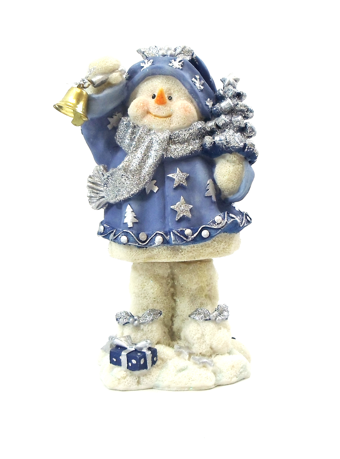 "1256526D-B - 6"" ""Ding-A-Ling"" Snowman Blue Xmas Tree Resin Statue"