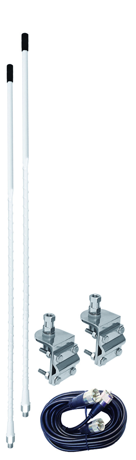 AUMM23-W - 3' White Dual Mirror Mount CB Antenna Kit