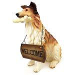 """1256803COLLIE - 15"""" Resin Collie With Welcome Sign Statue"""