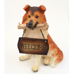 """1257203COLLIE - Resin """"Welcome"""" Collie Puppy Statue"""
