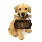 "1257203GOLDRETR - Resin ""Welcome"" Golden Retriever Puppy Statue"