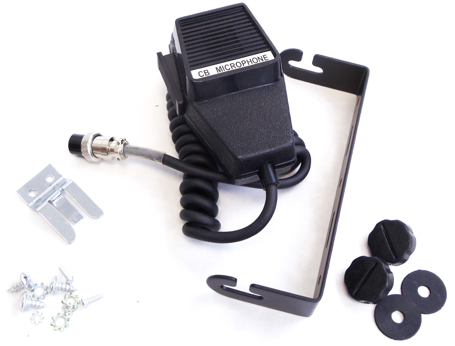 """M45BOX - Kalibur 4 Pin Microphone, 6"""" Black Slotted Mounting Bracket & 6mm Side Knobs, Mic Clip & Hardware For Mcb45w-Fr"""