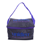 "UNIBOX - UNIDEN - SMALL NYLON CARRY BAG WITH SIGNATURE LOGO, APPROXIMATE DIMENSIONS 8"" LONG X 5"" WIDE X 4.5"" TALL"