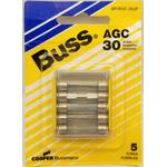 058BPAGC30JP - Blister Packed Agc-30 Amp Fuse, 5 Pack