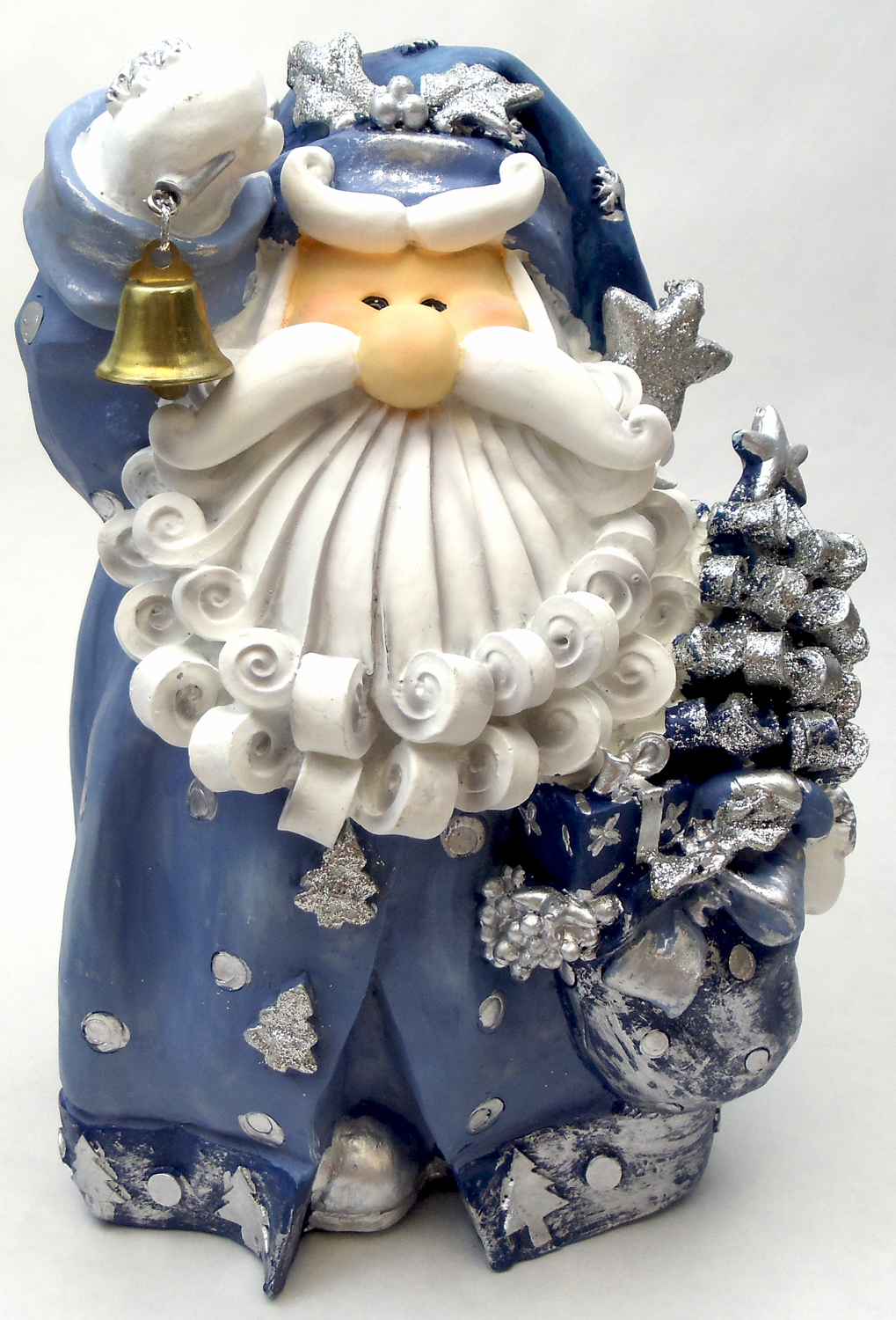 "1256522C - 8"" Curly Beard Resin Blue Glitter Santa Statue With Gold Bell"