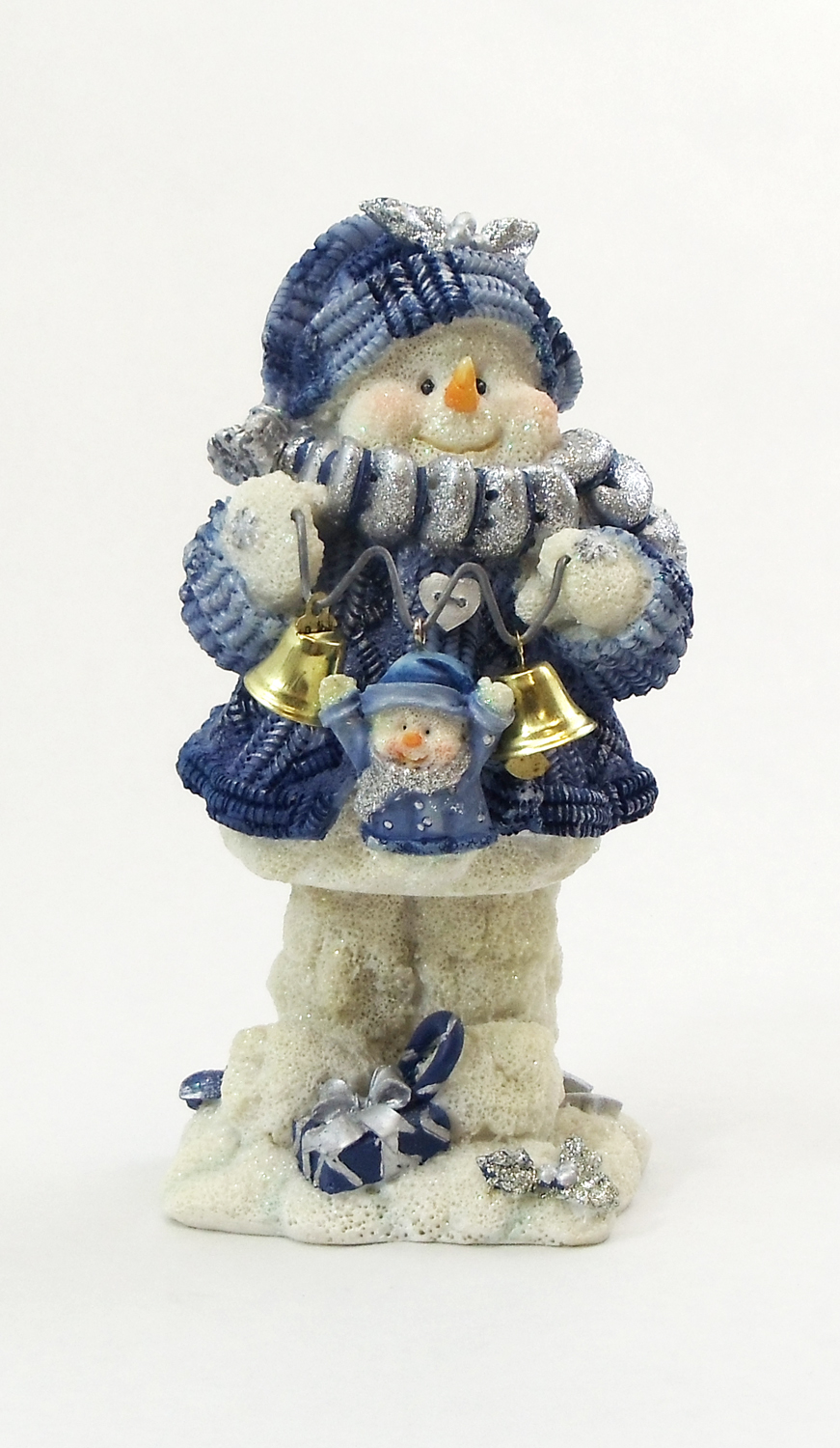 "1256526C-B - 6"" ""Ding-A-Ling"" Snowman Blue Bell Ringer Resin Statue"