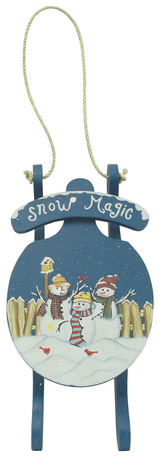 "1256649 - 16-1/2"" Hand Painted Hanging Wood ""Snow Magic"" Sled Wall"