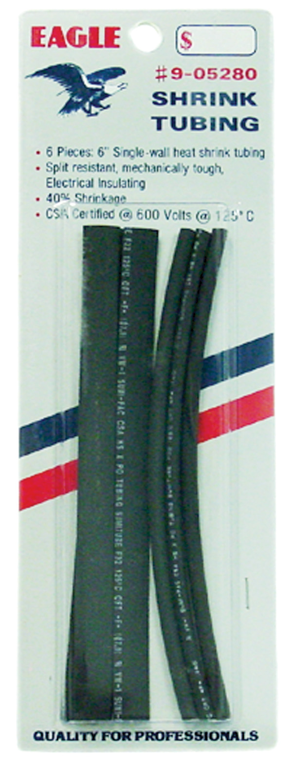 "905280 - Eagle 6 Piece 6"" Black Heat Shrink Tubing"