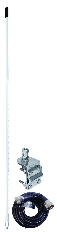 AUMM12-W - 2' White Single 3 Way So239 Mirror Mount CB Antenna Kit