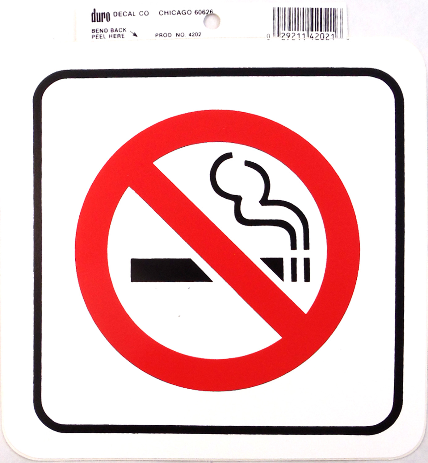 """0454202 - Duro 6"""" X 6"""" Stick-On No Smoking Decal - 12 Per Pack"""