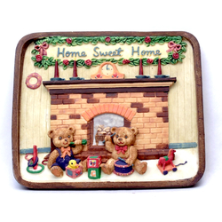 1253814B - Home Sweet Home Resin Wall Plaque - Bears By Fireplace