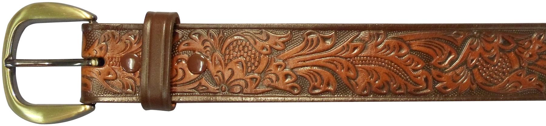 "10610110232 - 32"" Brown Leather Embossed Belt"