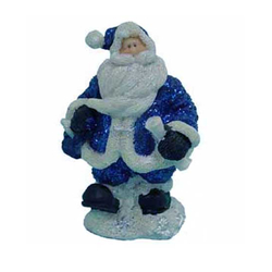 "1256551 - One Dozen 4"" Blue Glitter Resin Santa Statues In Four Assorted Models"