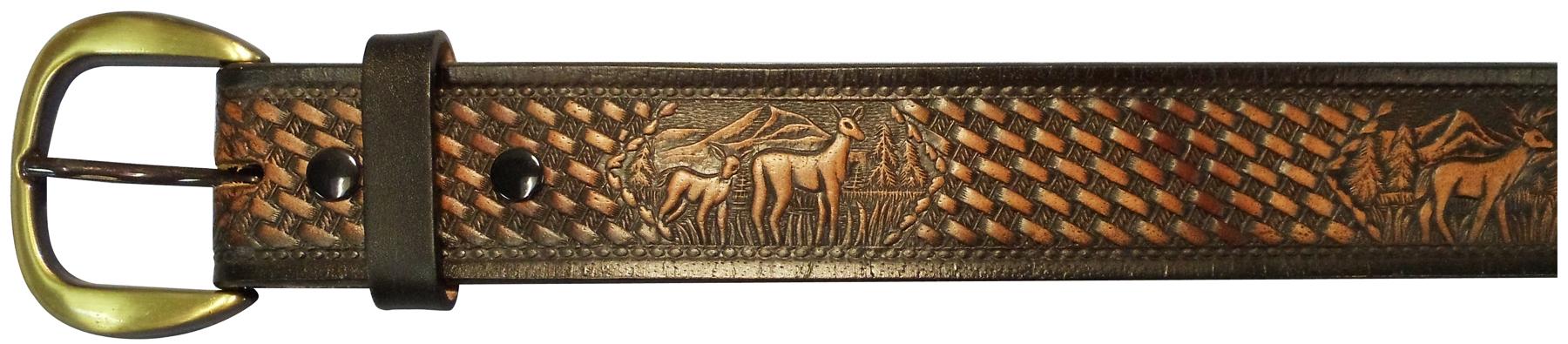 """10610160138 - 38"""" Black Leather Belt With Deer Design"""