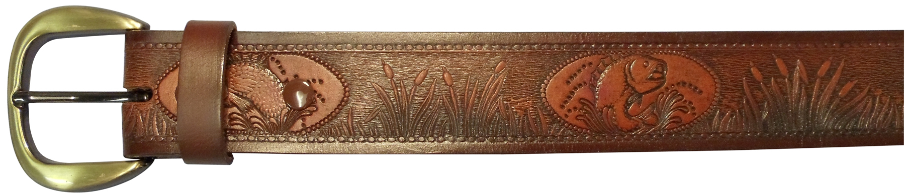 """10610170232 - 32"""" Brown Leather Belt With Fish Design"""