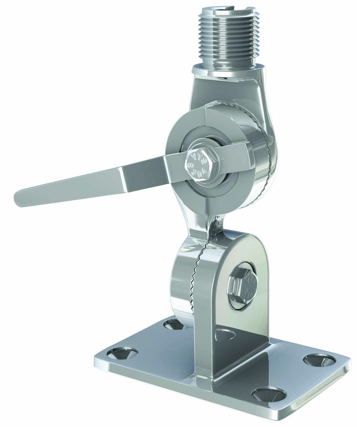 """4187HD - Shakespeare Extra Heavy Duty 1""""-14 Thread Stainless steel Marine Mount With 4-Way Ratchet Handle"""